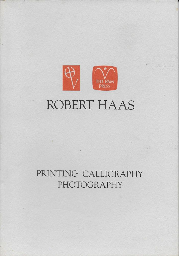Robert Haas: Printing, Calligraphy, Photography. James Fraser, Hermann Zapf.