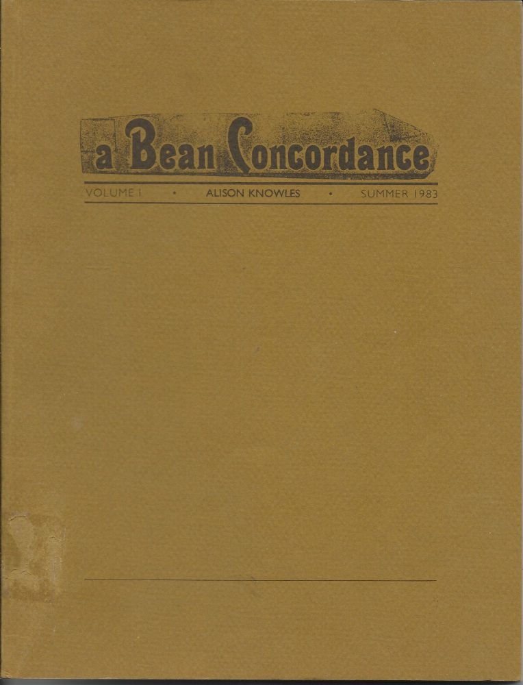A Bean Concordance, Volume I, Summer 1983. Alison Knowles.