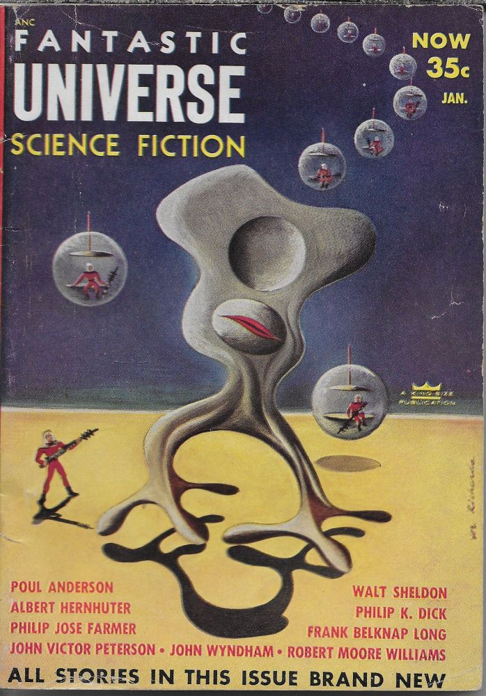 """""""Beyond the Door"""" in Fantastic Universe [cover title is Fantastic Universe Science Fiction], January 1954. Volume 1, Number 4. Beatrice Jones, Philip K. Dick."""
