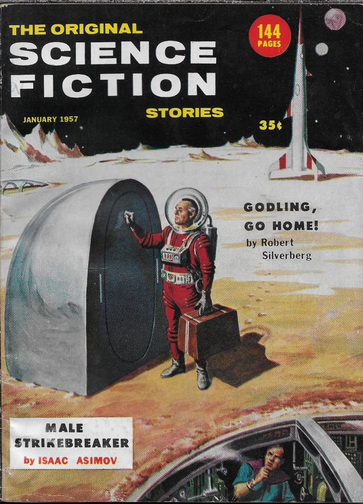 """""""The Unreconstructed M"""" in Science Fiction Stories. January 1957. Robert W.. Lowndes, Philip K. Dick."""