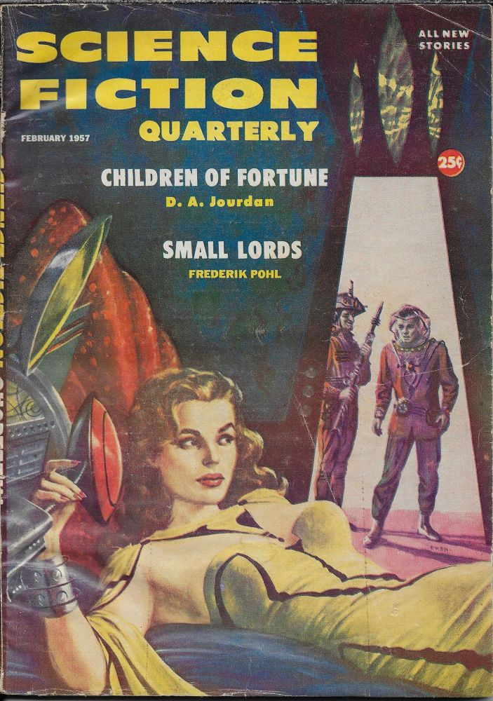 """Misadjustment"" in Science Fiction Quarterly. February [Feb] 1957. Robert W.. Lowndes, Philip K. Dick."