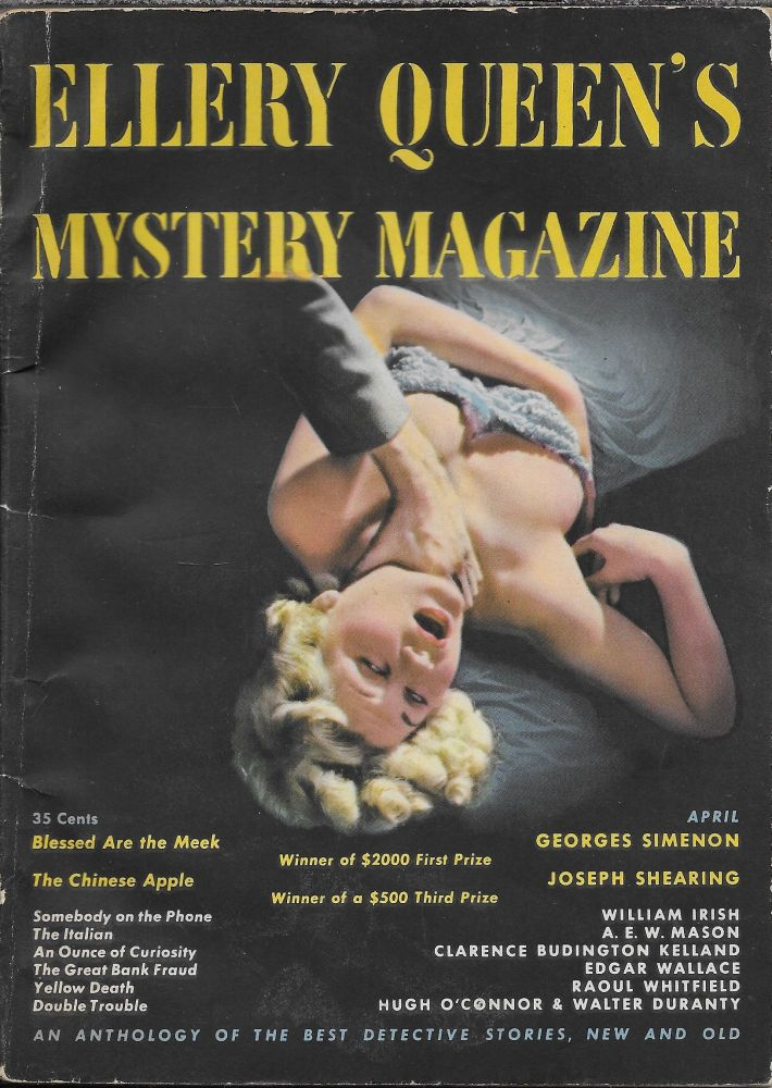 """""""Blessed are the Meek"""" in Ellery Queen's Mystery Magazine. April 1949. Volume 13, Number 65. Ellery Queen, Georges Simenon."""