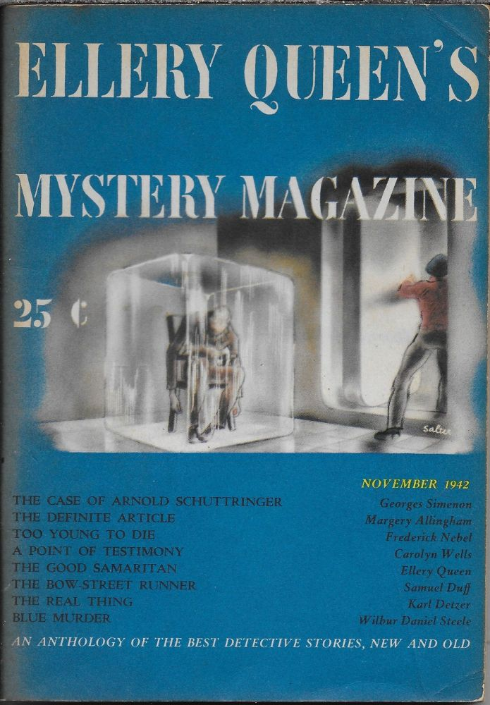 """""""The Case of Arnold Schuttringer"""" in Ellery Queen's Mystery Magazine. November. 1942. Volume 3, Number 5. Ellery Queen, Georges Simenon."""