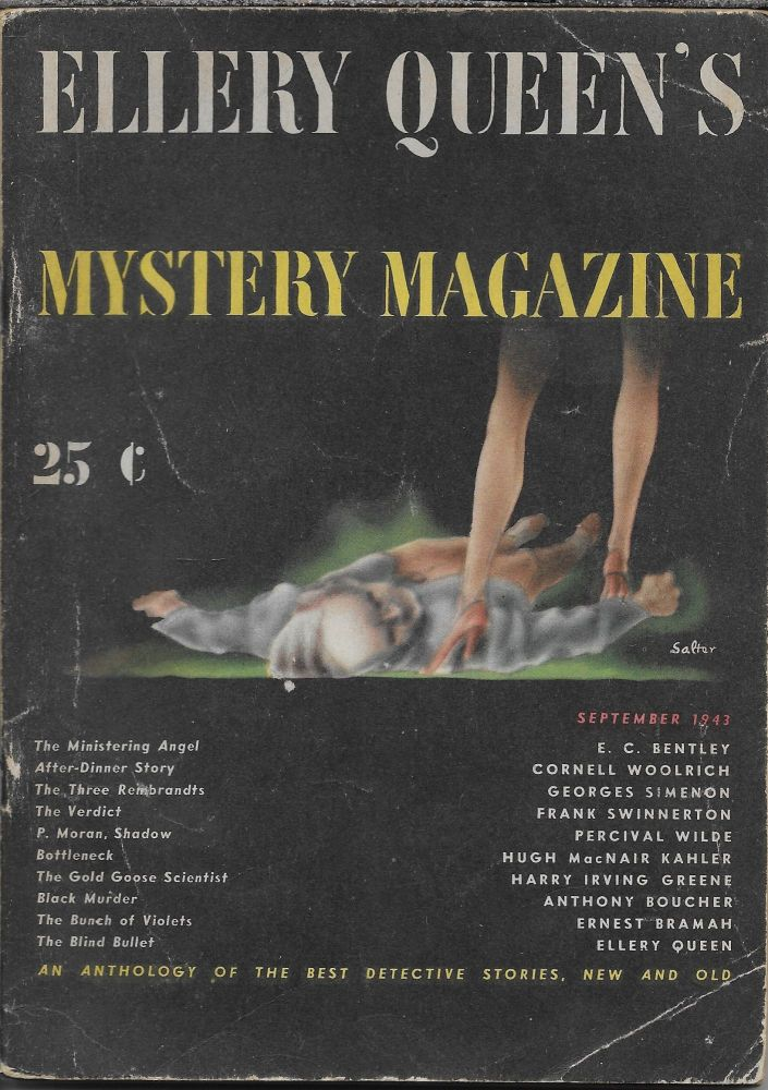 """""""After Dinner Story"""" in Ellery Queen's Mystery Magazine. September 1943. Volume 4, Number 12. Ellery Queen, Cornell Woolrich."""