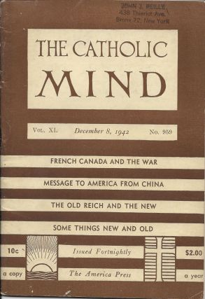 The Catholic Mind, No. 959, December 8, 1942. Francis X. Talbot